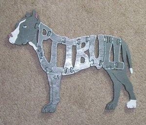 "approx. 9"" x 7.25"" wood pit bull puzzle; hand-painted using Martha Stewart craft paint"