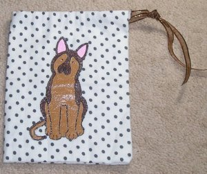 "approx. 6"" x 7.5"" flannel treat bag with hand-painted German Shepherd drawstring closure"