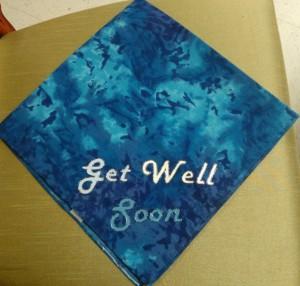 22 inch blue batik bandana Made in India, hand-painted in GA