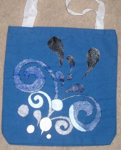 "approx. 12.5"" x 12"" cotton canvas tote bag, hand-painted"