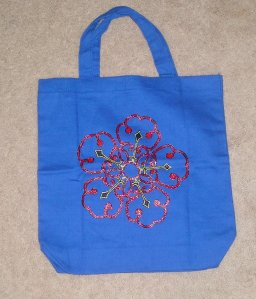 "approx. 13"" x 13.5"" cotton canvas tote bag, hand-painted flower"