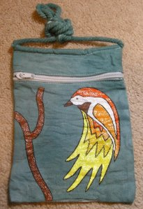 "approx. 5.75"" x 8"" canvas purse on a string; hand-dyed, hand-painted"